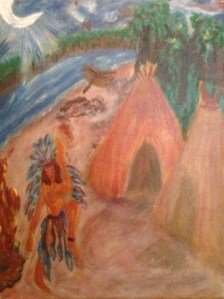 painting  ~She danced to Coyote ~ by june mackendrick